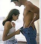 woman checking man's penis