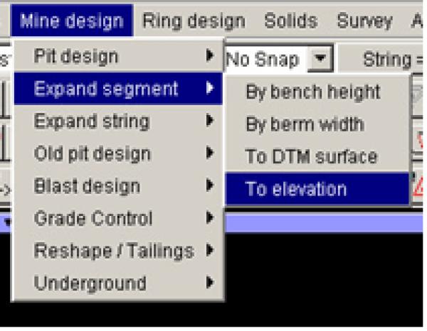 Expand Segment ke elevasi yang kita inginkan Dengan Surpac