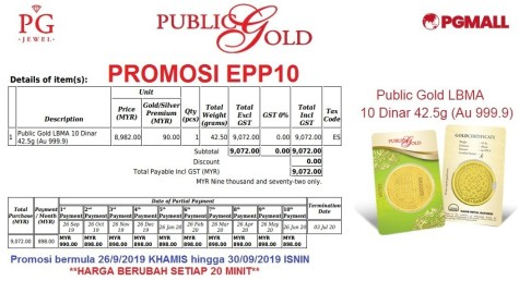 Easy Payment Plan (EPP) 10 -10 dinar Public Gold.
