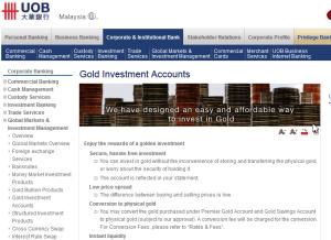 Snapshot laman web pelaburan emas UOB