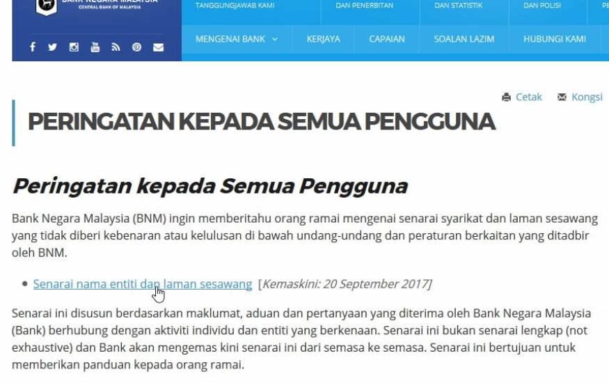Senarai entiti dan laman yang dipantau Bank Negara Malaysia.