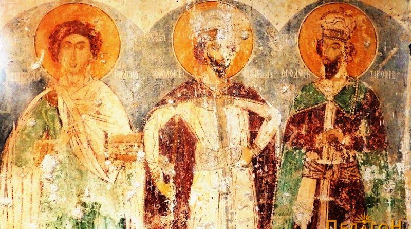 Од јужниот ѕид - св. Пантелејмон, св. Теодор Стратилат и св. Теодор Тирон