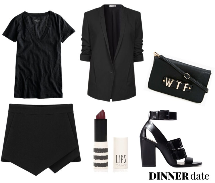 outfit ideas, polyvore, pelamarela, blogger, fashion, style, summer, dinner, date, fancy, all black