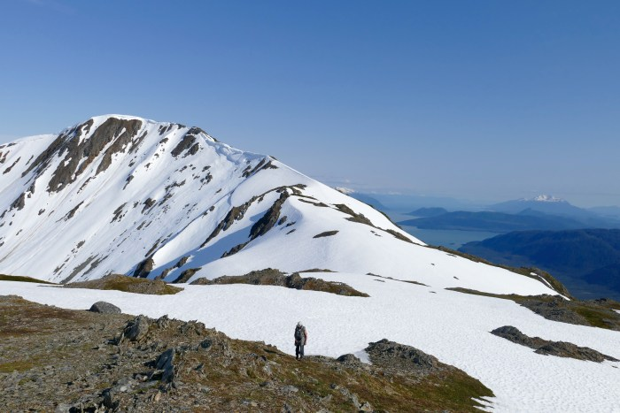 approaching the ridge top, behind Juneau, May 2015