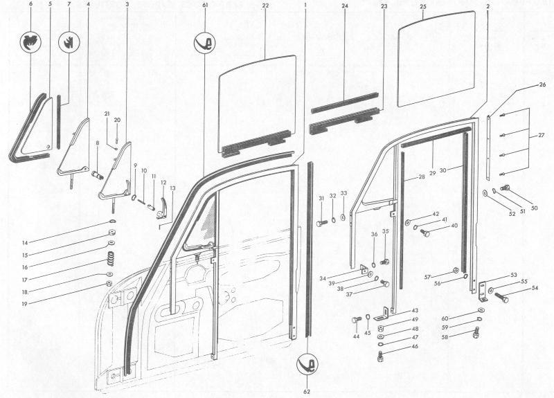 Pelican Parts: Porsche 356B Coupe Door Window Frames & Seals