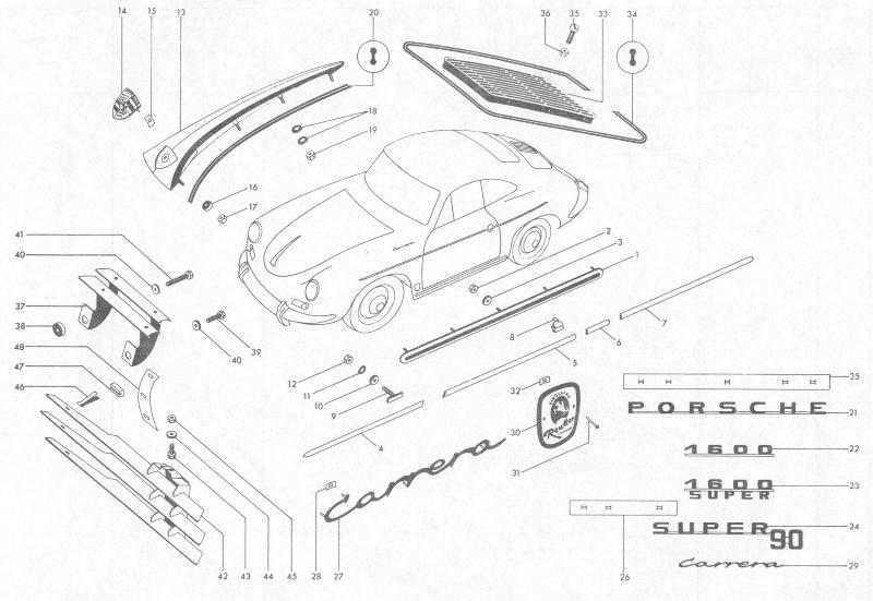 Pelican Parts: Porsche 356B Exterior Trim & Badges