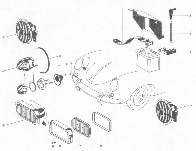 Pelican Parts: Porsche 356B Horn, Fog Lamps, Battery