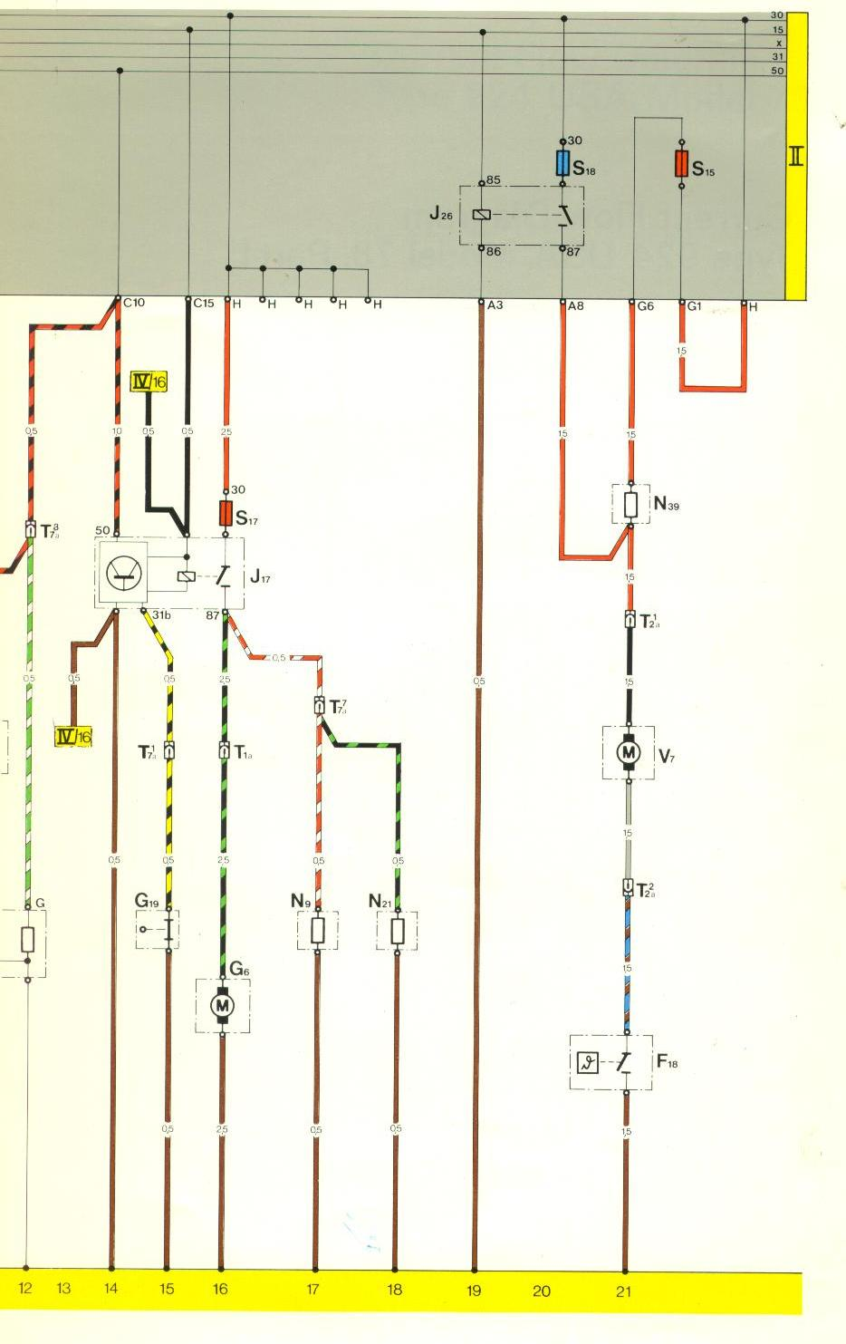 hight resolution of  circuit in current track 21 j 26 is the fan relay v7 is the fan motor f 18 is the temperature switch and the 21 terminus at the bottom of the page is