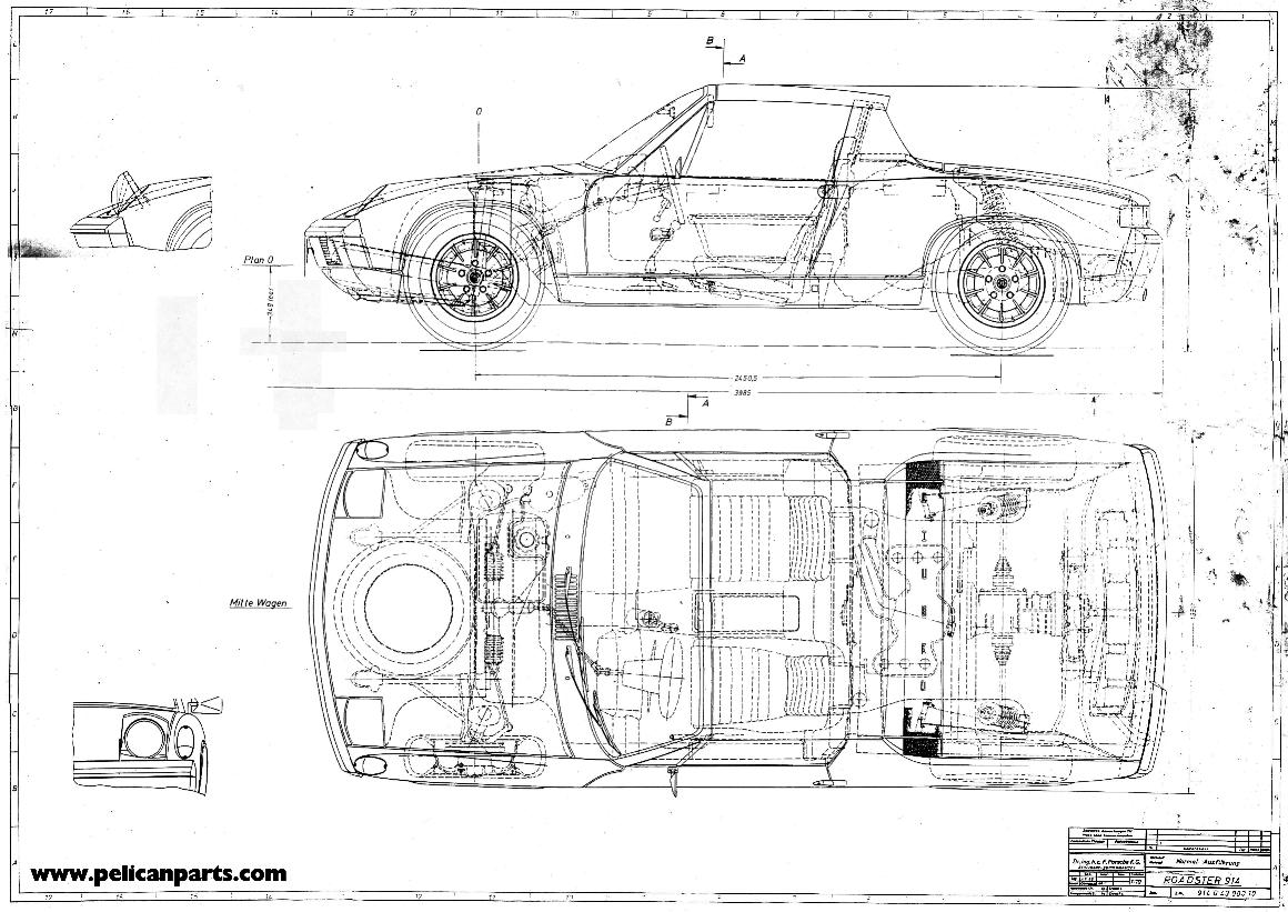 Pelican Parts Original German 914 6 Blueprint