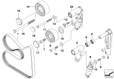 Drive Belt Tensioner with Base Plate and Pivot Arm for