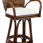 Legacy Indoor Swivel Rattan Wicker 30 Bar Stool In Tc Antique Finish With Cushion