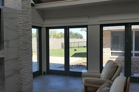 outdoors with a movable glass wall
