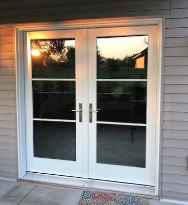 wood hinged patio door improves