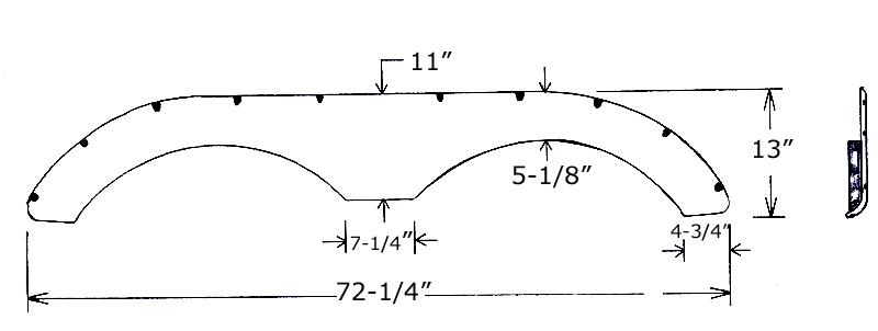 Fiberglass Fenderskirt 72-1/4 x 13 fits Keystone Laredo