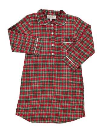 Camicia da notte in flanella rosso scozzese