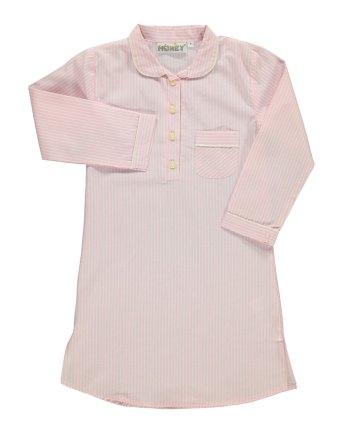 Camicia da notte in flanella rosa e bianco
