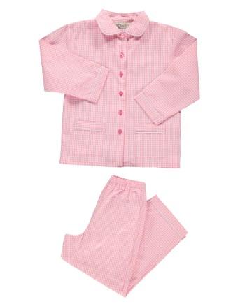 pigiama in flanella lungo bianco e rosa