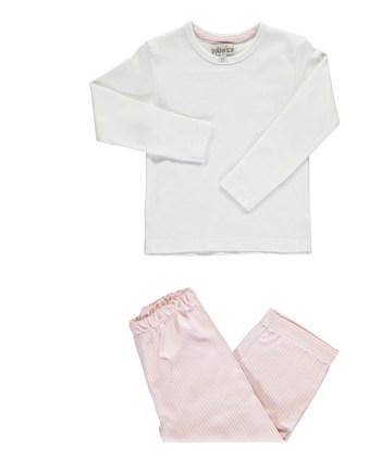 Pigiama in flanella lungo rosa e bianco