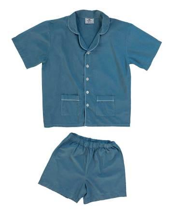 pigiama corto in cotone blu jeans