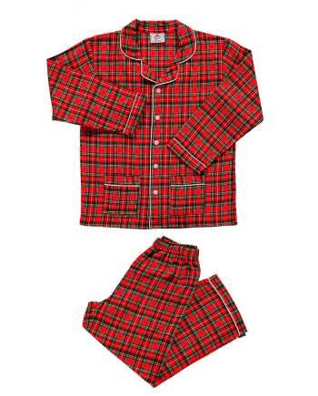 pigiama lungo in flanella rosso scozzese