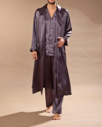 Vestaglia lunga in raso di seta grigio
