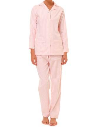 Pigiama lungo in flanella rosa e bianco