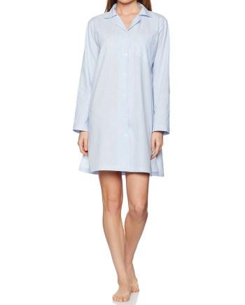 Camicia da notte in cotone bianco e celeste
