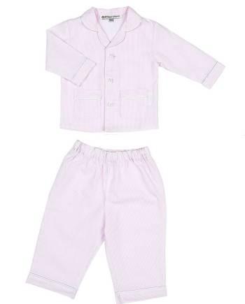 Pigiama lungo in cotone bianco e rosa