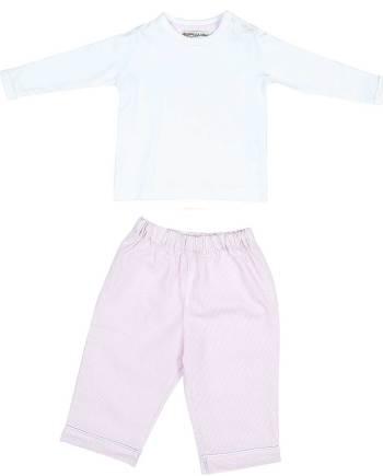 Pigiama lungo in cotone rosa e bianco