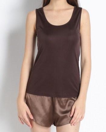 Top con spallino largo marrone in jersey di seta