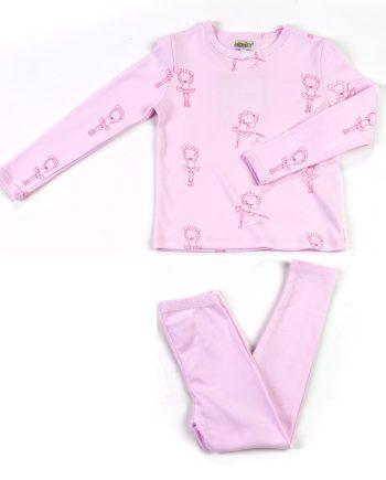 Pigiama in cotone lungo con fantasia rosa