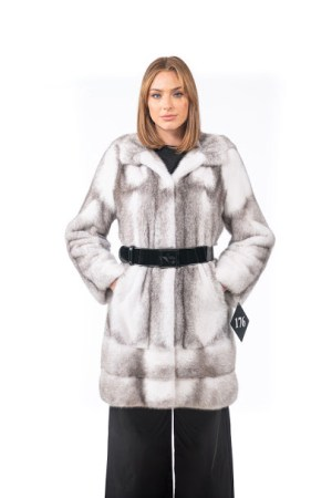 Mink coat with hood and belt
