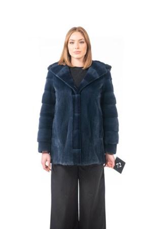Blue mink jacket with hood