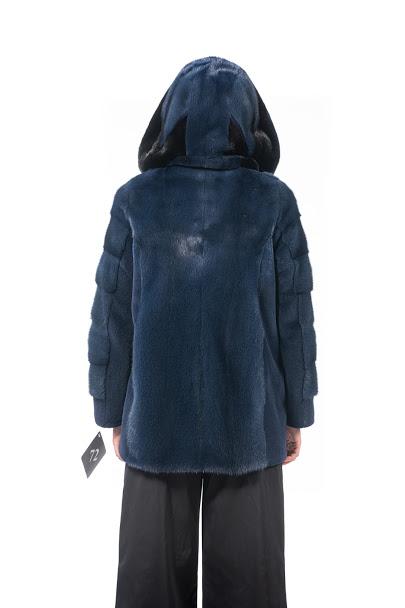 Giacca di Visone blu con cappuccio