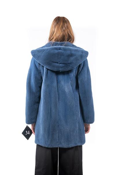 Giaccone con cappuccio in Visone azzurro