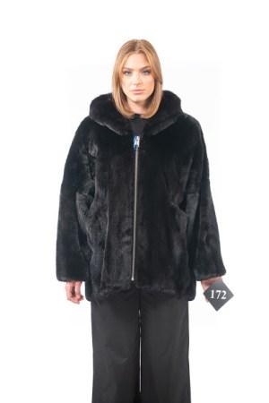Mink jacket with hood and zip