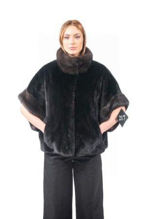 Half sleeve mink jacket