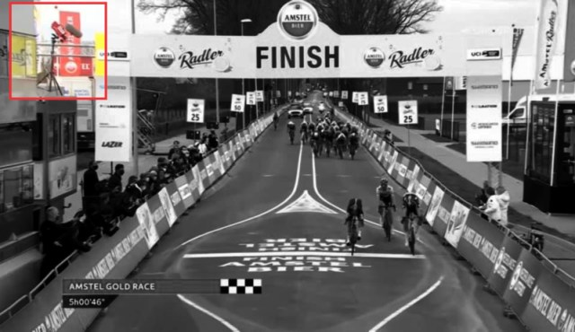 Detalhe do Photo-Finish na Amstel Gold Race 2021 | Captura TV