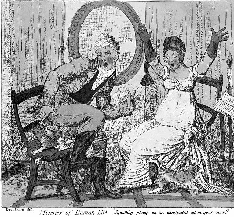 Regency gent sits on cat while lady looks on in horror