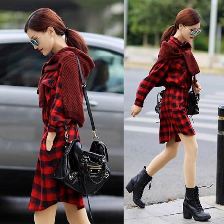 Sonbahar-kış-kırmızı-elbise-topuklu-bot-kombini