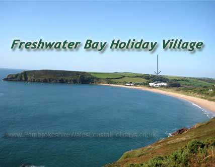 Freshwater Bay showing location of Freshwater Bay Holiday Village aka Trewent Park Freshwater East