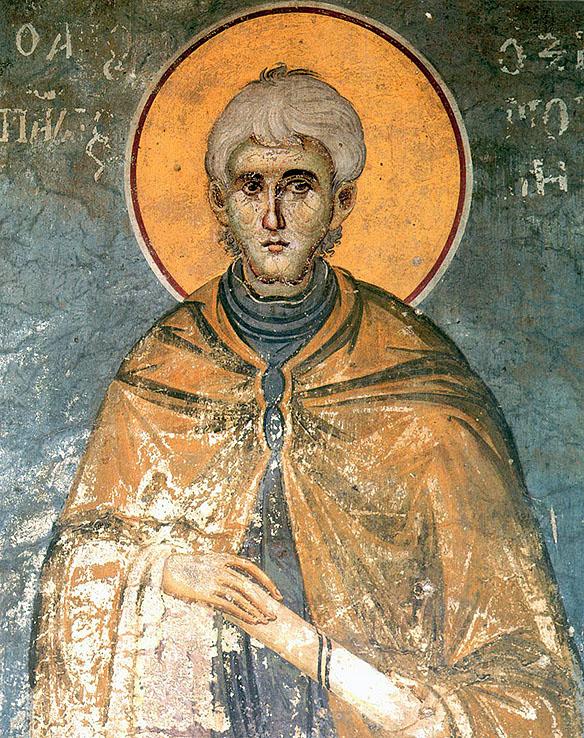 Sfântul Pavel, frescă de Manuil Panselinos, Protaton, sec. XIV