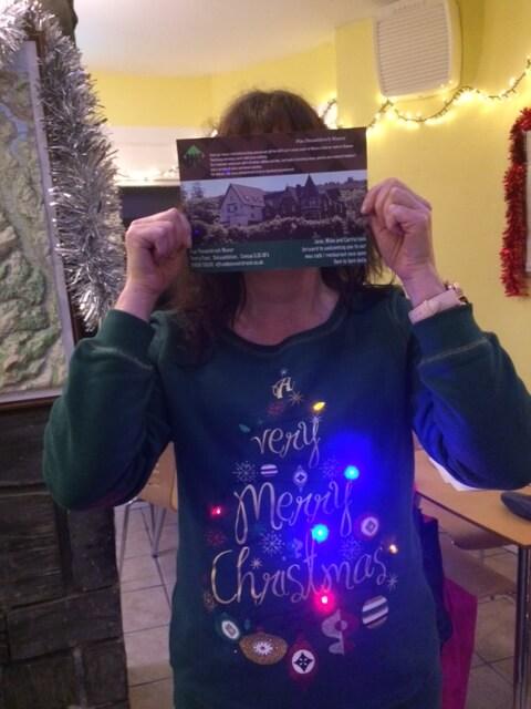 Winner of the best Christmas jumper, being shy