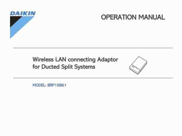 Operation manual for the Daikin WLAN BRP15B61