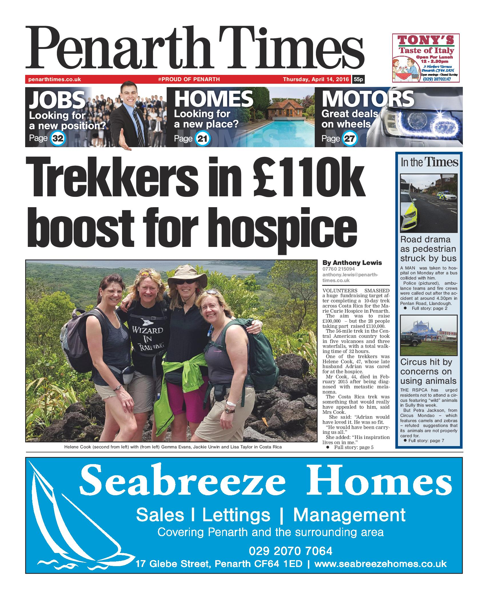 Penarth Times: Charity trekkers smash £100k target for Penarth hospice