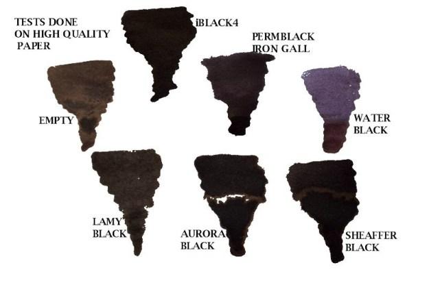 Compare different black Krishna fountain pen inks.