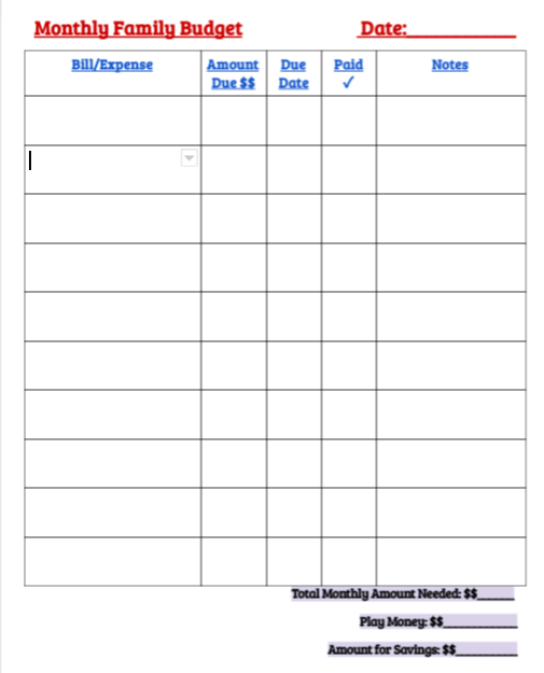 this very user friendly document has helped my family to be able to budget more efficiently and track exactly where our money is going