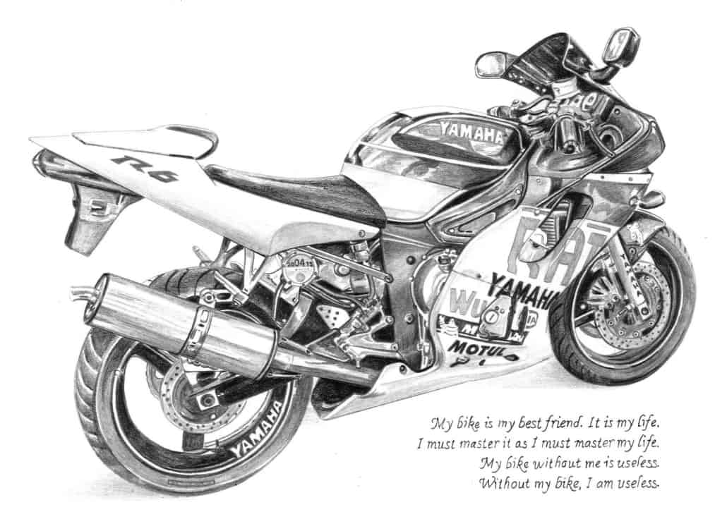 Motorbike Drawing of a Yamaha R6 in Pencil