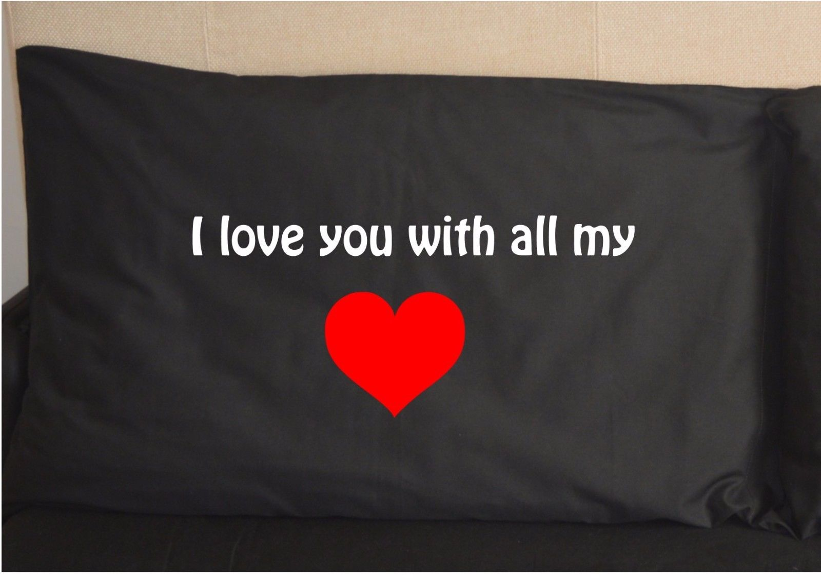 i love you with all my heart pillow case printed black pillowcase design cute