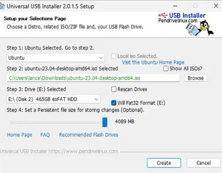 Pasos del instalador USB universal